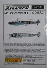 Xtradecal 1/48 X48183 Messerschmitt Bf110C/D/E/F/G decal sheet