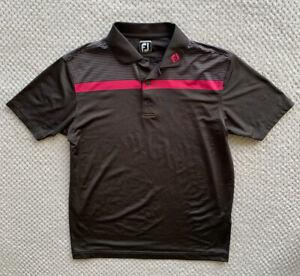 FOOTJOY FJ Golf Polo shirt Mens L Athletic fit Dark Gray/Pink Striped