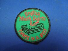 Vintage English Mark Darts Three In a Bed Green Iron On Patch