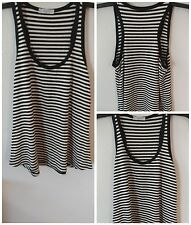 Esmeral Tank Top Black White Striped Petite Stretch Shirt NWOT Viscose Elastane