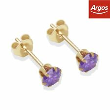 9ct Yellow Gold Amethyst Coloured CZ 6 Prong Claw Stud Earrings - 4mm