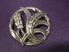 Wheat Floral Motif Signed Danecraft Sterling Silver Pin Brooch