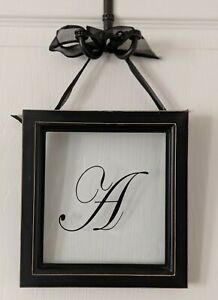 Monogram A Initial Art Alphabet Letter A Wall 7 x 8 Black Frame Hangs by Bow