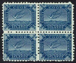 COOK ISLANDS 1893 TOREA BIRD 1/2D BLOCK OF 4 WMK SIDEWAYS PERF 11 */**