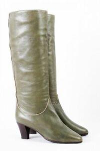 70s Vintage Stiefel 38 grün Leder Resi Hammerer Boots Hippie Boho