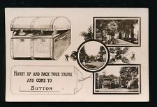 Surrey SUTTON Pack Trunk and Come To M/view c1900/10s RP PPC