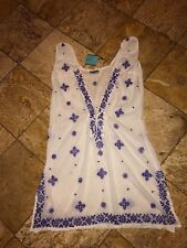 NWT $276 Letarte White Purple Embroidered Tunic Kaftan Dress Swimsuit Cover-up