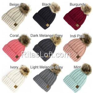 CC Beanie Cap Hat Cable Knit Fuzzy Lined Faux Fur Pom