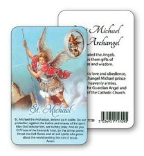 SAINT MICHAEL PRAYER LAMINATED CARD WITH RESIN DROP PICTURE - OTHER ITEMS AVAIL.
