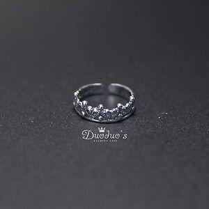 925 Sterling Silver Little Crown Ring For Little Finger /Adjustable