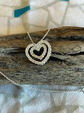 18-inch Silver Heart w/Rhinestones Pendant