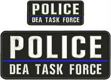 POLICE DEA TASK FORCE EMBROIDERY PATCH 4X10 &2X5'' HOOK ON BACK BLK/WHITE//
