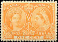 1897 Mint Canada F-VF Scott #51 1c Diamond Jubilee Issue Stamp Hinged