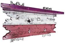Handmade Hakenleiste Schlüsselbrett Ablage 5 Haken Echtholz lila violett weiß