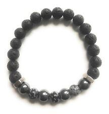 Snowflake Obsidian Hematite Lava Steel Beads Essential Oil Bracelet Balance Pure