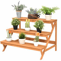 3 Tier Wood Plant Stand Flower Pot Display Rack Stand Holder Shelf Step Ladder