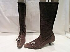 PRADA BROWN SUEDE STRETCH MID HEIGHT PULL ON BOOTS UK 6.5 (1770)