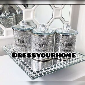 SPARKLE DIAMOND CRUSHED SILVER CRYSTAL FILLED TEA COFFEE SUGAR CANISTER JARS UK✅