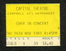 Original Cher 1981 Concert Ticket Stub Sydney Australia Take Me Home Tour