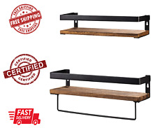 Set 2 Bathroom Storage Shelf Wall Mounted Rustic Wood Floating Shelves Removable
