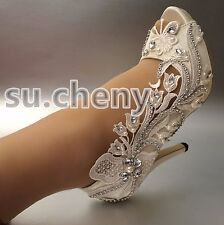 "3"" 4"" heel satin white ivory lace bell flower peep  toe Wedding shoes size 5-11"