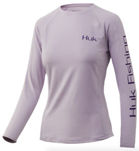 Huk Ladies Forever Casting Pursuit White Medium Vented Long Sleeve Shirt