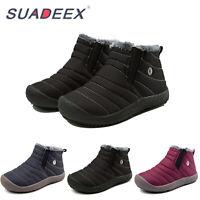 Boys Girls Snow Boots Waterproof Slip On Fur Lined Sneakers Winter Warm Shoes