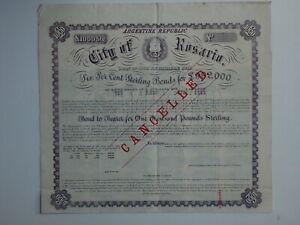 Argentina Republic - City of Risario - Loan of 1888 - £1000 bond - unissued