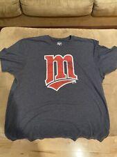 Minnesota Twins Navy Blue T-Shirt. Men's Size XL Distressed. Pristine. '47