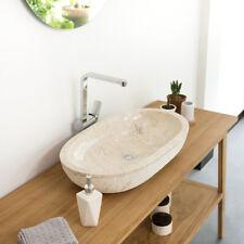 WOHNFREUDEN Marmor Waschbecken Mara oval gehämmert creme 70x40x13 cm