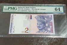 Malaysia 9th Series RM 2 First Prefix AA PMG 64