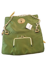 NWT COACH Satin Lime Green Evening Foldover Clutch W/Beaded Brass Strap