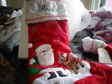 Pottery Barn Kids quilted Santa Rudolph  Christmas stocking  mono Harris    New