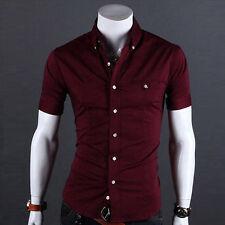 Mens Luxury Casual Slim Fit Fashion Dress Shirts Stylish Short Sleeve T-Shirts g