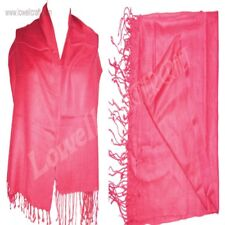 Color Solid red Scarf Viscose Plain Wrap Fringe Classic Shawl Long