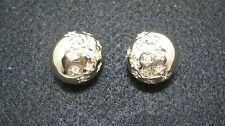 Vintage Swarovski Swan Logo Gold Tone & Crystal Rhinestone Clip Earrings 553