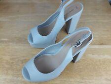 New Look Blue Peep Toe High Heel Slingback Platform Faux Leather Vegan Shoes 6