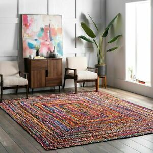 Bohemian Braided Area Reversible Cotton Chindi Hand Woven Rug Carpet Multi Color