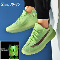 Men's Fashion Sneakers Fluorescent Shoes Breathable Athletic Glow Up Shoes Green
