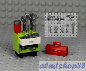 LEGO - 8x Tools Combo w/ Cabinet Toolbox - Power Drill Socket Wrench Minifigure