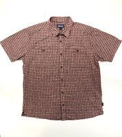 Patagonia Mens Red Hemp Button Down Plaid Short Sleeve Shirt Size XL