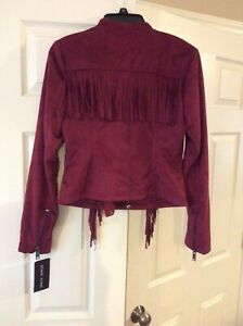 NWT Black Rivet Wilson's Leather Jacket Size Small burgundy/red