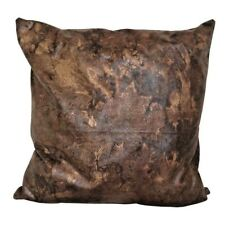 "Faux Leather Light/D.Brown Golden Effects 17x17"" Throw Pillow Case/Cushion Cover"