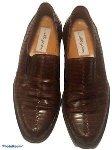 Mens Mezlan Brown Leather Woven Slip On Shoes Size 11.5 Panama