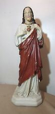 LARGE 22in antique hand painted chalkware plaster Mary Jesus Saint statue figure