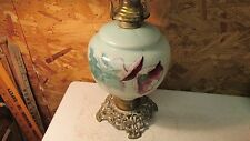 1880's Purple Flower Oil Lamp & Chimney