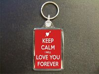KEEP CALM I WILL LOVE YOU FOREVER RED KEYRING GIFT BAG TAG VALENTINES GIFT