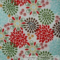 BonEful Fabric FQ Cotton Quilt Cream Off White Green Red Blue Brown Flower Xmas