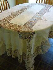 "Vintage Ecru Reticella Lace & Embroidered Linen Tablecloth, 100"" x 63"""