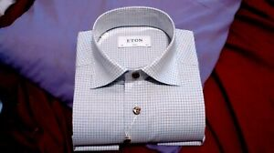 NWT Eton men's 37, and or 44 long sleeve button down shirt check pat slim fit